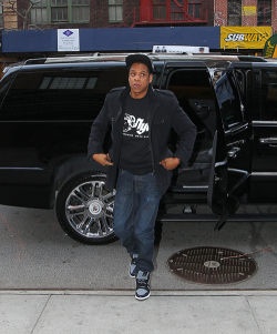 Jay-Z was spotted hopping out of his chauffeur-driven Cadillac on Friday afternoon. Jay was in Manhattan heading to The Bowery Hotel.