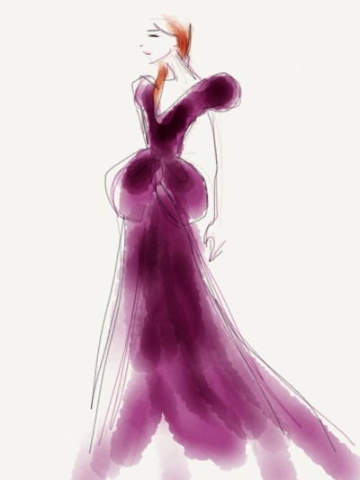 Plunging neckline, deep purple gown, wet red hair at Oscar de la Renta Sketch by Danielle Meder