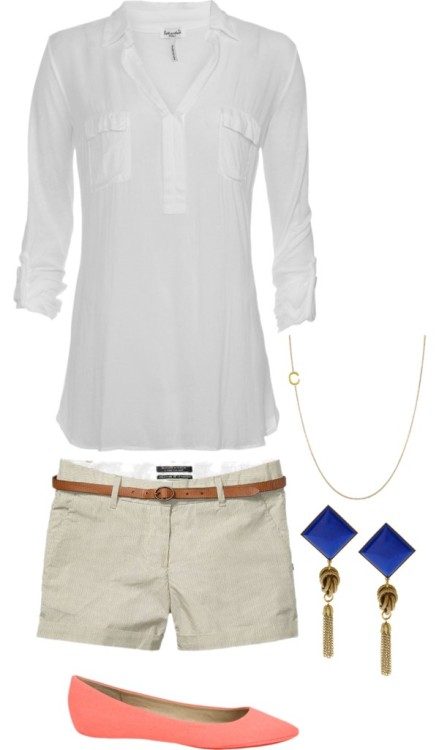 rtp by jayroux2790 featuring ballet flatsSplendid vneck shirt / Scotch & Soda slip shorts, $105 / Joe's Jeans ballet flat / Maya Brenner Designs gold jewelry / Anton Heunis tear drop earrings
