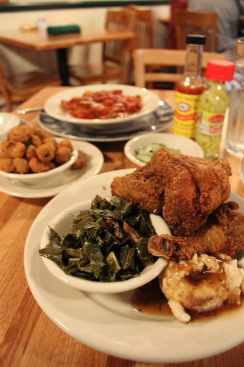 Fried Chicken, Shrimp Etouffee, fried okra -Jestine's Kitchen, Charleston, SC