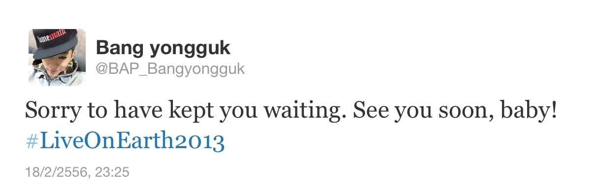 190213 : Yongguk posts twitter in English And changed his twitter display to be his selca