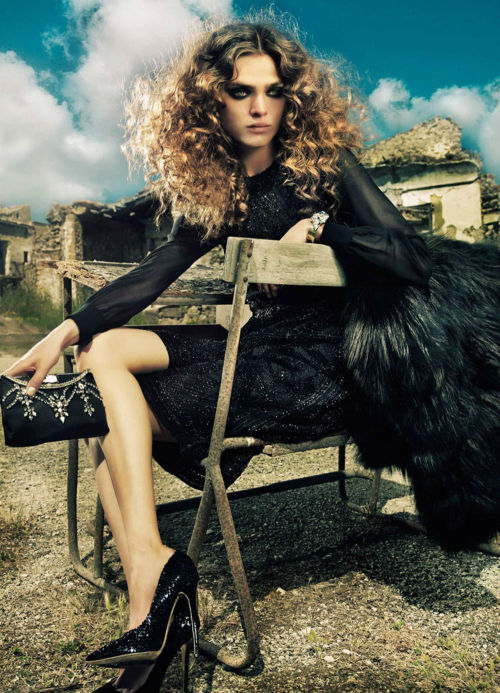 stormtrooperfashion:  Sophie Vlaming by Costas Avgoulis for ELLE Germany, December 2012 See more from this set here.