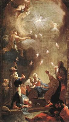 Art Appreciation: One of the most famous depictions in art history of Pentecost was a painting titled Pentecost, or The Coming of the Holy Spirit, by the artist, Joseph Ignaz Mildorfer.  This painting currently hangs in the Hungarian National Gallery.