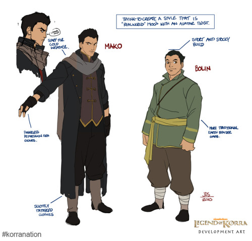 Before Mako had a red scarf. We posted this back in the day on Korra Nation, but strolled upon it and thought it deserved another glory day. How cool are these Mako and Bolin concepts? Amazing to see how our favorite brothers have evolved.