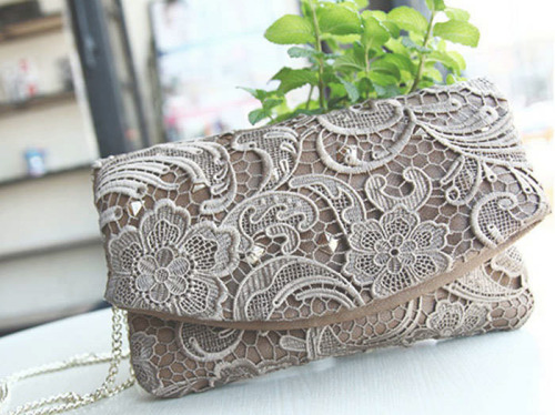 fashion-n-beauty:   Lace Embellished Shoulder Bag