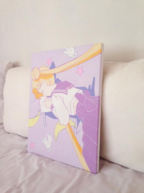 dearninety:  sailor moon painting, 40.9 x 31.8, acrylic on canvas