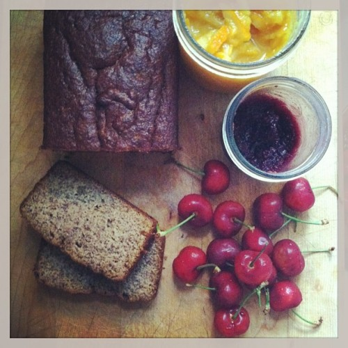 grain free honey banana bread, homemade honey preserves + bing cherries