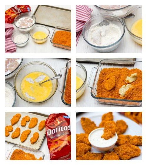 leobear73:  Dorito crusted chicken OMG!Ingredients4 boneless skinless chicken breasts1 large bag of Doritos, nacho flavor (or flavour of choice)2 cups buttermilk2 cups flour4 eggscooking spray, optionalInstructions:Cut the chicken into thin ½ inch strips.Place the chicken in a bowl and pour in the buttermilk. Stir so the chicken is coated in the buttermilk. Cover the bowl and place in the fridge for about 2 hours.Using a food processor, crush the Doritos so that they are a texture similar to panko or coarse bread crumbs. Set aside in a large bowl.Place flour in one bowl and eggs in another. Whisk the eggs so that they are well scrambled.Preheat oven to 400F and spray a baking sheet with cooking spray.Set up the four bowls in order: 1. bowl with the chicken, 2. bowl with the flour, 3. bowl with the beaten eggs, 4. bowl with the crushed Doritos.Using a fork, lift out a few chicken strips and let excess buttermilk drain off. Place them in the flour and dredge them in so they are all coated in flour. Lift the chicken strips out of the flour and shake off any excess. Place them in the egg wash and turn them so they are evenly coated in egg. Lift them out of the egg and then dredge in the crushed Doritos. Place the coated chicken fingers on the baking sheet. Do this with the remaining chicken strips.Bake in the oven for 15-20 minutes, turning halfway through.Serve with buttermilk ranch dip, bbq sauce or your favorite dip.Recipe from: http://www.theblackpeppercorn.com/2013/04/doritos-crusted-chicken-fingers/