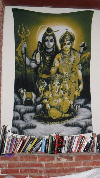 Shiva and Parvati above my bed.