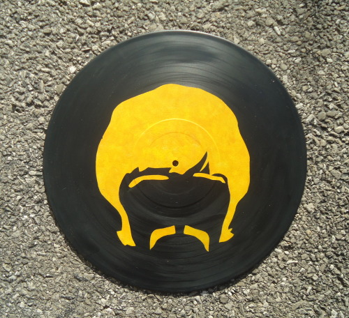 Ringo Starr portrait on a painted vinyl record, available on Etsy