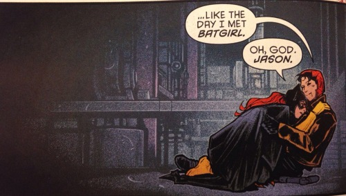 Batman Eternal #19 — Jason Todd recounts his first meeting with Batgirl. She is fighting him under hypnotic suggestion, seeing him as the Joker.
