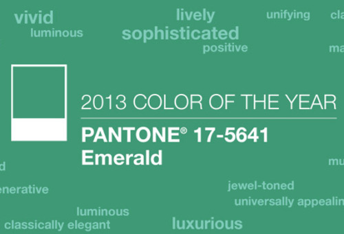 "'Emerald' is the Color of the Year for 2013 According to Pantone, ""this color will be seen over the next 12 months across the fashion industry, beauty, interiors, plastics & packaging, print and graphic design."" Although I think it's a much better color than this year's, does anyone still remember that the 'Tangerine Tango' was the Color of the Year for 2012? Click on the picture for the details on Creative Review!"