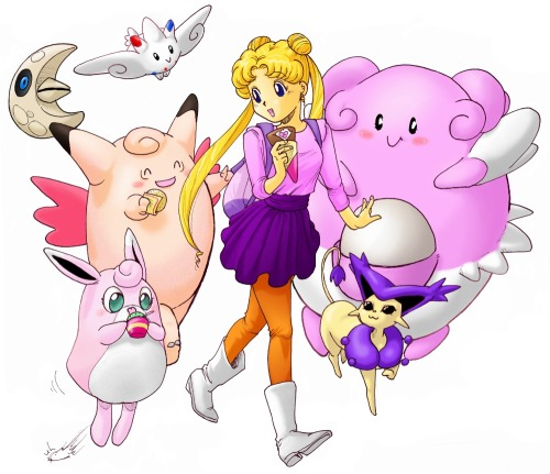 sailorfailures:  This is pretty old but I still like it; Pokemon Trainer Usagi!  This makes me happy.