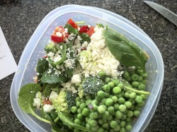 Lunch-ish: Salad - spinach, broccoli, red pepper, tomato, avocado, peas, and feta cheese
