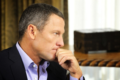 "Michael Specter on Lance Armstrong, an American myth: ""Everyone may lie, but here is what everyone doesn't do…"" http://nyr.kr/VZ4MfE  Photograph by George Burns/Oprah Winfrey Network/Getty."