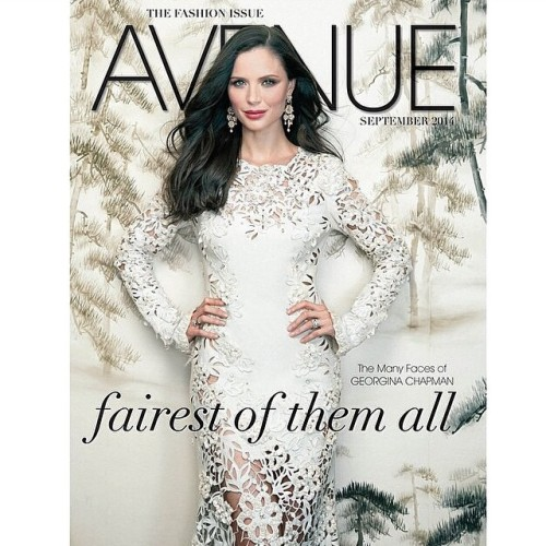 One of my muses and creative inspirations,  the gorgeous @ge0rginachapman of @marchesafashion graces the cover of Avenue magazine this month in one of her lacy sleeved creations! This is #purebeauty