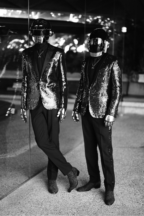 1001:  Daft Punk photographed by Mathieu César for CR Fashion Book They also discussed recording their upcoming album, Random Access Memories SKY FERREIRA: What's the meaning of your album's title, Random Access Memories?DAFT PUNK: The title plays with concepts of computer memory and human memories, establishing a loose parallel between the human brain and the hard drive—both are somehow randomly fragmented devices. We have always been fascinated by the relationship and connections between man and machine. What is the essence of the album?  This album is about technology going towards humanity, in a world where humanity is going towards technology. We tried to capture robotic emotions with music, replacing this time our electronic machines by real human beings. It's been almost 10 years since your last album. How do you think music has changed? Everything now changes at a frantic speed. Our previous album seems to have been released a lifetime ago. We just created a timeless bubble around us for the last five years in order to create the music we wanted to listen to. Read more at the source!