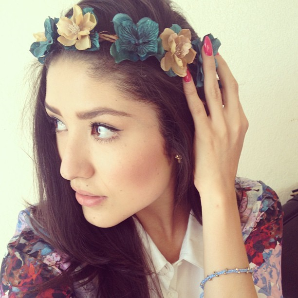 Wearing this hand crafted #BeyondDalliance floral crown.  Favorite accessory of the season.  👑 #floralcrown #flowercrown #floralheadband #beauty #selfie #beautiful #tim #oftd #fashion #style #California #oc #spring #spring2013 #accessory