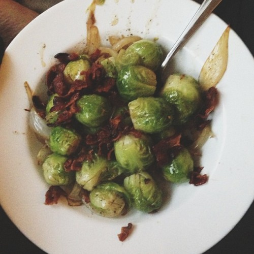 thatkindofwoman:  Bacon, caramelized onions, and brussel sprouts. Dinner!