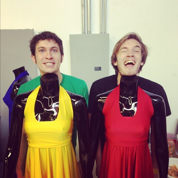 tobuscus:  me and @pewdiepie exploring our feminine side. and our black side.