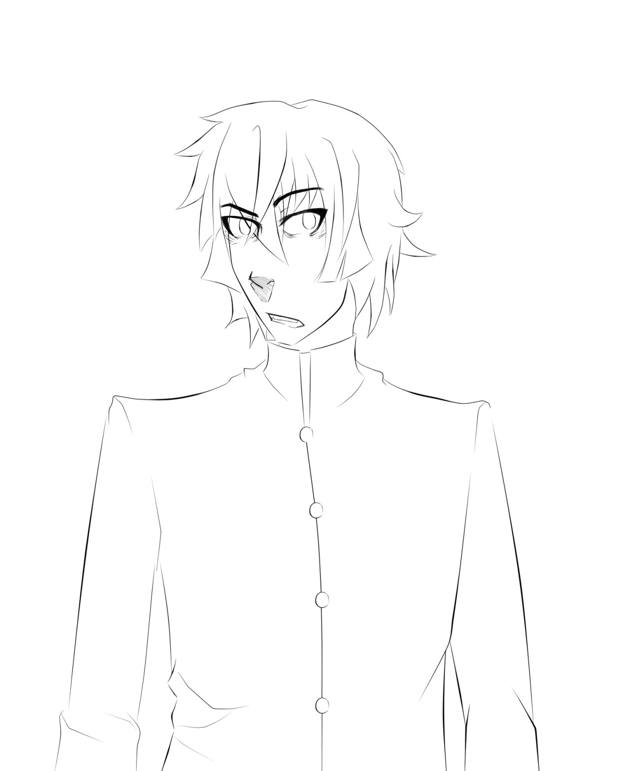 I took the mysterious sketch from yesterday and did the lineart. At first I wanted to do the typical Hyoubu smirk but everyone does that and I'm not like other girls so here's this facial expression instead.