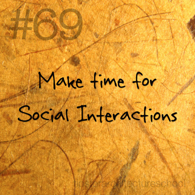 tipsforarchitectureschool:  #69 Make time for social interactions. You might not think this one is important, but you have to make time to mingle with friends and even strangers.  For example, I just went to a bar and chatted with a local in my downtown area.  It was really cool to hear different ideas and disciplines from someone outside of studio.  I actually used the ideas we talked about in my current project and it went over very well. Architecture is about people, so make sure you continue to sharpen your craft by surrounding yourself with a variety of them.