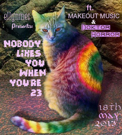 sleepssundays:  The flyer for Ellyn's party that I am DJing at tomorrow is pretty real.  I love all of my friends so much. This was one heck of an event. Trying to beat post-party hangover blues with chocolate now :3