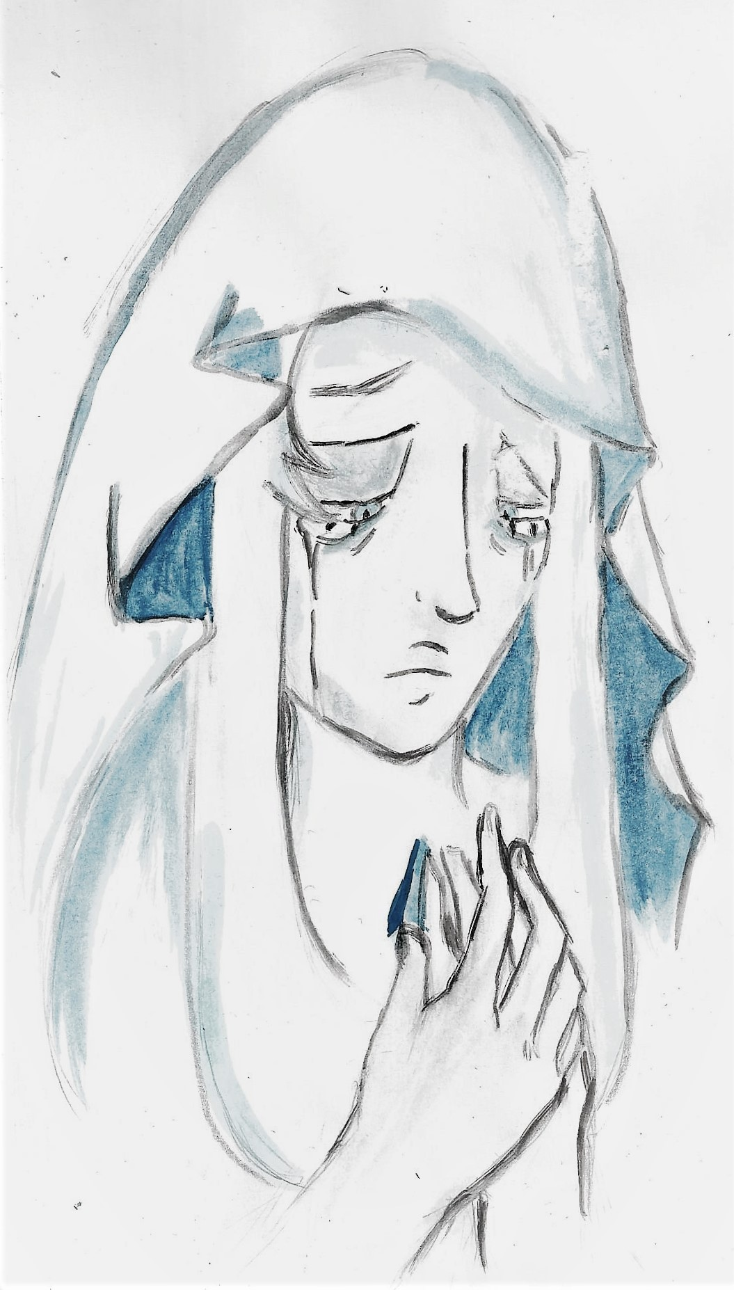 My second charity sketch commission for @rustedqueen - not exactly a sketch, and not exactly my finest work, either, but oh well. :D I was asked to draw Blue Diamond! I wonder if, after everything...