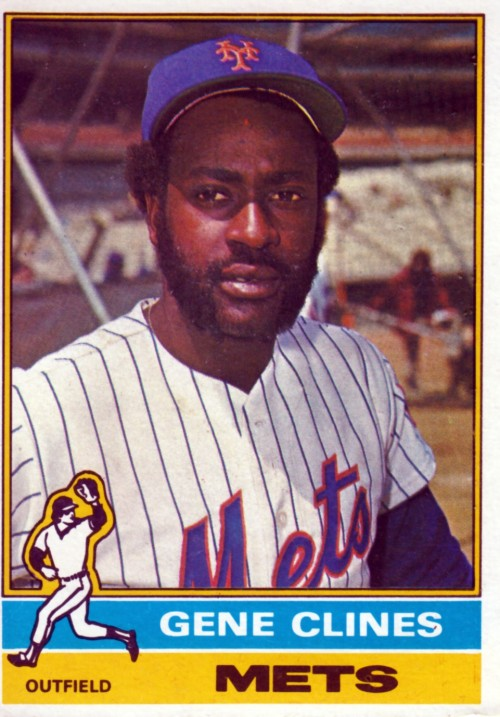 Random Baseball Card #2353: Gene Clines, outfielder, New York Mets, 1976, Topps.