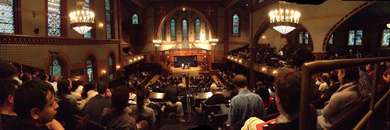 Panorama of Battell Chapel, on the occasion of Supreme Court Justice Ruth Bader Ginsburg's visit to campus last semester. Watch the Livestream recording of the public conversation with Ginsburg. Photo: Harold Shapiro