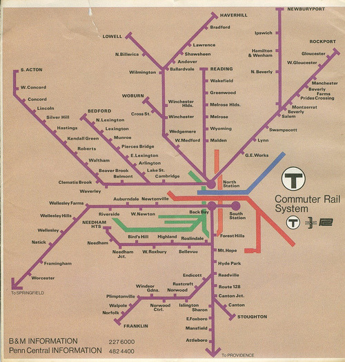 iladesjambessublimes:  Boston commuter rail system map, early '70s