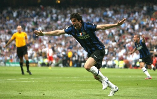Inter striker Diego Milito celebrates after scoring his side's first goal against Bayern Munich in the Champions League final