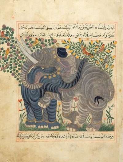 centuriespast:  Two ElephantsAbu Sa'd' Ubayd-Allah ibn Ibrahim, known as Ibn BakhtishuManafi al-Hayawan (The Benefits of Animals), in PersianPersia, Maragha, dated 1294, 1297, or 1299 The Morgan Library