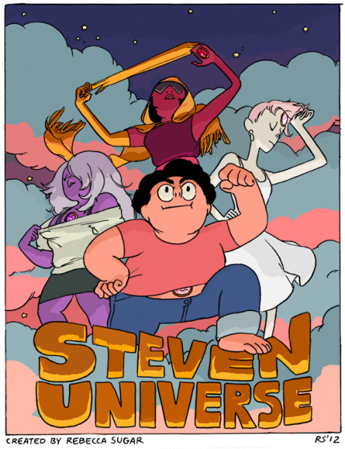 "adventuretime:  Steven Universe Earlier we blogged our old Adventure Time crony Ian Jones-Quartey's Cartoon Network pilot, ""Lakewood Plaza Turbo."" Now it's Rebecca Sugar's turn. Here's Rebecca's original ""Steven Universe"" short, soon to be a big fancy-schmancy, uke-laden series on CN. Congratulations, Rebecca. Please don't forget us when you're crowned the Queen of Cartoons. rebeccasugar:  The Steven Universe pilot is online! Here is a very old promo poster I did before the pilot was even complete! I can not believe how much the show has grown and changed since this pilot; the show will look amazing, the people I am working with are amazing, wait up for the series you guys it's gonna be something else!!!"