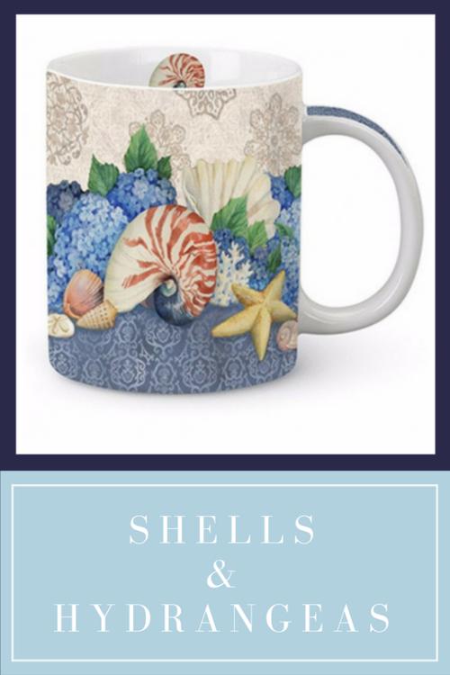 Shells & Hydrangeas Mug