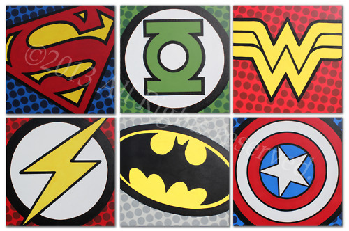 "SUPER HERO LOGOS  ACRYLIC ON MUSEUM CANVAS  SIX 20"" X 20"" Paintings"