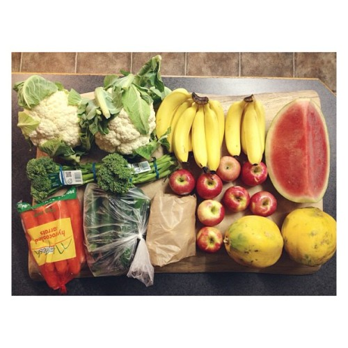 cleanbodyfreshstart:  shopping {two cauliflowers, two bunches of broccolini, a bag of carrots, zucchinis, mushrooms, two papayas, a bunch of bananas, pink lady apples and watermelon} #vegan