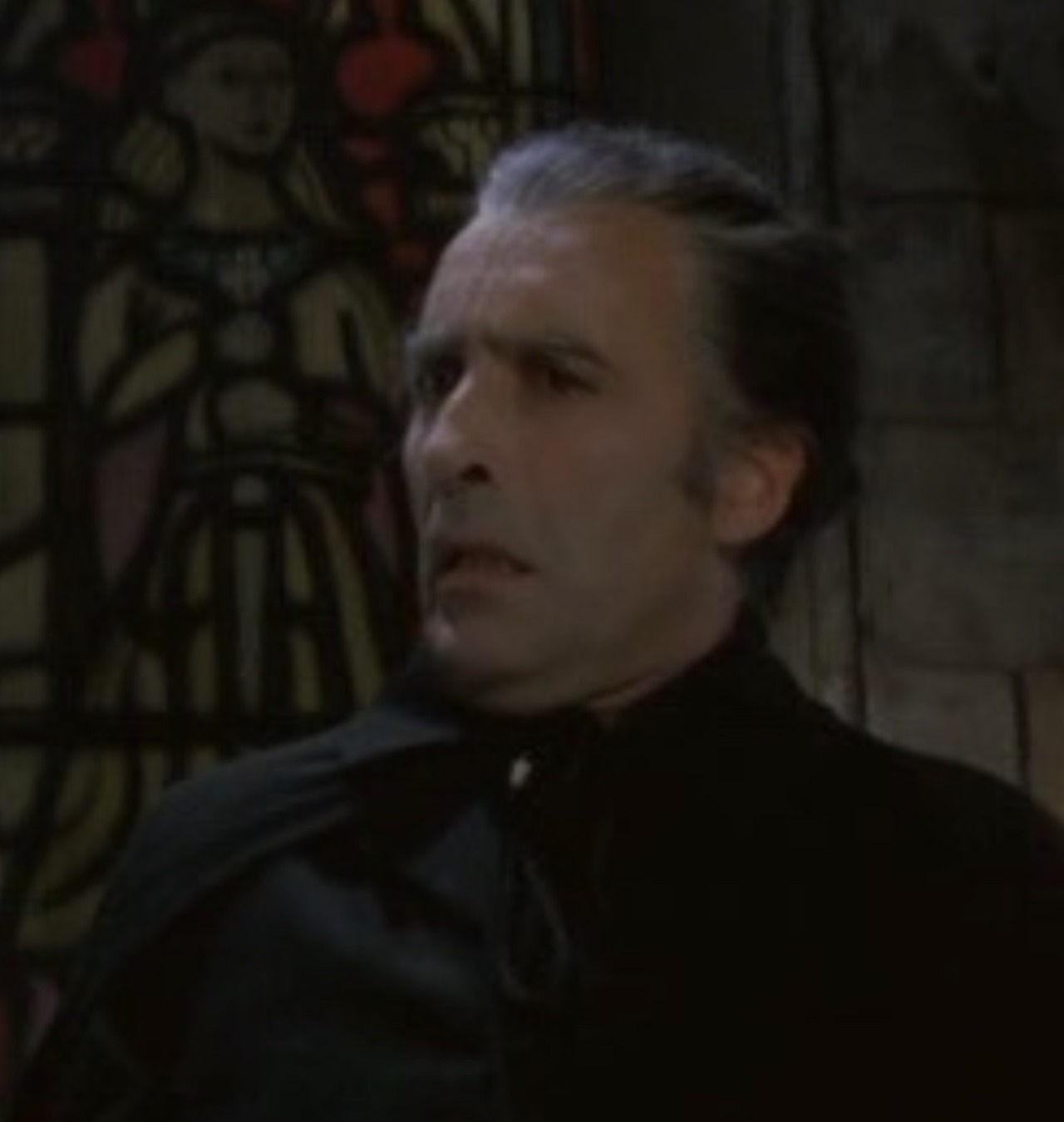 current obsession: drac's doublechins #hammer horror#hammer dracula#christopher lee#dracula #one of the reasons why i love lees drac so much  #his elastic face  #how he goes from ominous and graceful and foreboding #to this#vampire memes#vintage horror#british horror#legendary face #dracula ad 1972  #satanic rites of dracula  #dracula prince of darkness  #scars of dracula  #taste the blood of dracula  #dracula has risen from the grave  #draculas walgreens card
