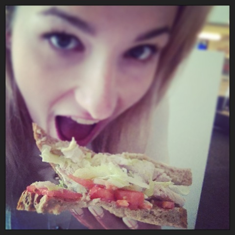 Me and my yummy sandwich. Brown bread, avocado, chicken, lettuce and tomato. Let's get healthy!! ☺😝