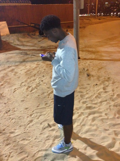 myniggaimtrill:  #summer #night #beach #bored #nike #jordans #lakefront #lacking #boy #shorts #tank #offguard