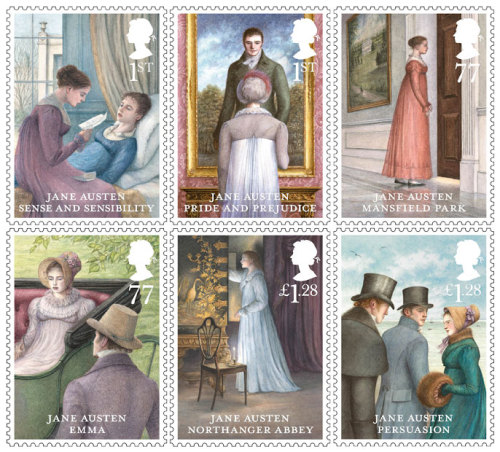 Royal Mail's stamps featuring all six published Jane Austen novels, to celebrate the 200th anniversary of Pride and Prejudice