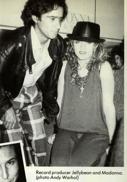 Madonna and Jellybean Benitez photographed by Andy Warhol at the Like a Virgin record release party 1984