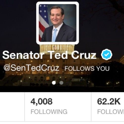 Lucky me. Look who's following me now. #politics #immigration #twitter #tedcruz #IHaveArrived