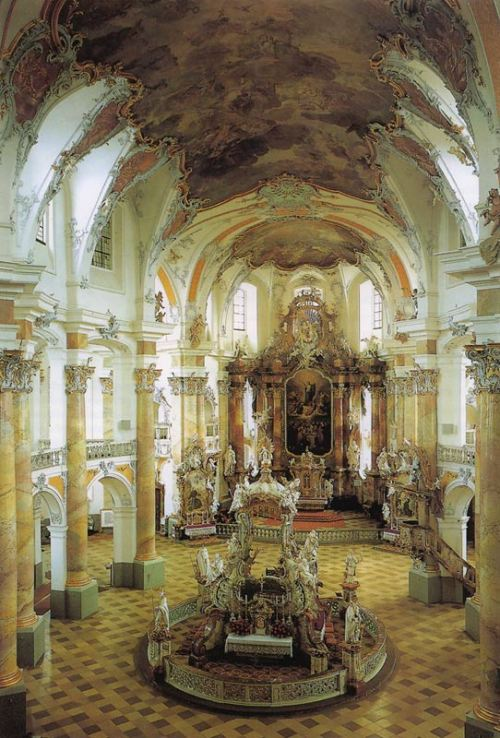 cociane-skinny:  18th Century Art: Rococo Interior Church of Vierzehnheiligen in Germany
