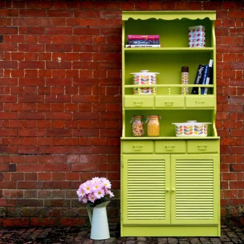 Zesty Green Scandinavian dresser £280 + delivery. Contact us or see facebook.con/relovedvintage for more photos and details. #dresser #vintage #paintedfurniture #kitchen #furniture #retro #cool #vintique #stamford #rutland #rustic #peterborough