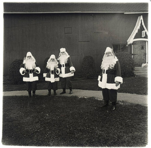 jockohomo:  DIANE ARBUS (1923-1971) - Santas at the Santa Claus School. Albion, N.Y. 1964, Gelatin silver print, printed later by Neil Selkirk, stamped 'A Diane Arbus photograph', signed, titled, dated, numbered '16/75' by Doon Arbus, Administrator, in ink. 14 3/8 x 14½in. (36.4 x 36.7cm.)  this thing of ours