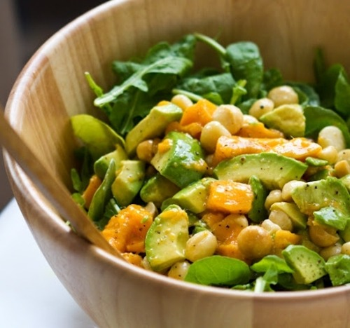 prettygirlfood:  Arugula Salad: Mango, Macadamia, Avocado 1 large mango, cubed1 avocado, diced3/4 cup macadamia nuts, roasted/salted5 cups fresh arugulaoptional add-in's: sweet onions, diced apple, diced pineapple … moredressing (or use your own recipe):1/4 cup lemon juice2 Tbsp apple cider vinegar1/4 cup olive oil1 Tbsp Dijon mustard1 tsp agave syruppepperdash garlic powderDirections:1. I made a quickie salad dressing out of a few of my favorite flavors. Whisked it together and tossed it with the salad ingredients - except the arugula!2. I tossed the avocado, mango and nuts with the salad dressing - then poured it right over the greens. I didn't toss the salad together until we were ready to serve the salad. Otherwise the arugula would get quite soggy.3. Top with fresh black pepper! Serve!