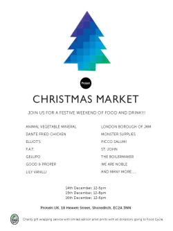 Protein Christmas Market/Dalston Department Store  This weekend we are going to be in two places. First the third instalment of the Dalston Department Store. The second is we're open as part of the Protein Christmas market with lots a of food and drink it's the perfect time to pick up some presents for Christmas.  Opening Hours Dalston Department Store  Thursday 17:00- 21:00  Saturday - Sunday 10:00- 18 Protein Christmas Market Friday 12:00 - 17:00  Saturday 12:00 - 20:00  Sunday 12:00 - 18:00  DunneFrankowski