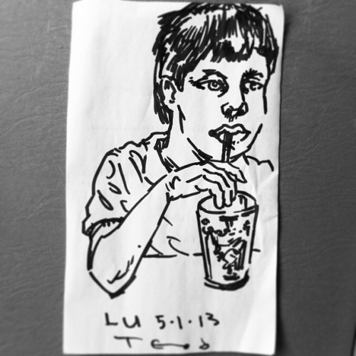 Dinner with LU. #teod #teodtomlinson #portrait #sharpie #face #myson #art #sketch #napkinart http://bit.ly/12AGwTs teod_art's photo on Instagram Teod Tomlinson Art