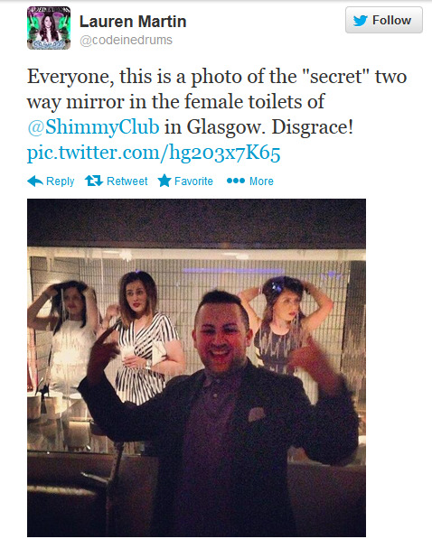 jaycubs:   A Glasgow nightclub has installed a two-way mirror which allows male revellers in private booths to spy on unsuspecting women as they visit the toilet! With no notification or signage anywhere in the venue many female club goers have been left feeling embarrassed and used. Although they do briefly show the mirrors in a promo video, the club has been quickly deleting comments and posts on their social media from club goers trying to alert others to the situation. This is pretty much illegal and hugley violates privacy. Thank you The Shimmy Club for giving us a shiny, new, creative and cool take on objectification. article here  i'm never leaving my house again, this world is just too fucked up.